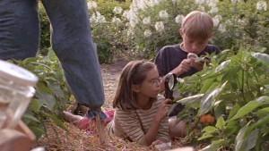 Les enfants du film à la recherche d'insectes ravageurs